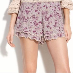 Free People Purple High Waisted Floral Shorts